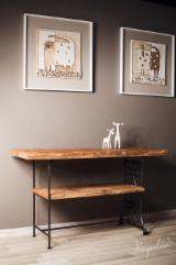 Living Room Furniture - Old Wood Console Table On Reclaimed Metal