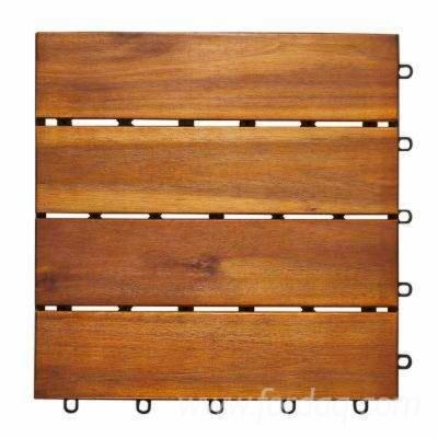 FSC Acacia Garden Wood Tiles (4 Slats), 12-24 mm