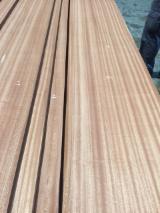 Sliced Veneer - Sapelli Natural Veneer, Quartered - plain, 0.5 mm thick