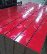 Engineered Panels China - 15-25 mm Melamine MDF Slotted Board With Aluminium Bar For Supermarket
