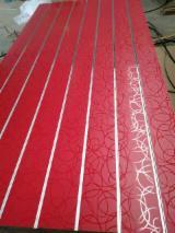 null - 15mm Circle Design Melamine MDF Slatwall Panels With Aluminium Bar