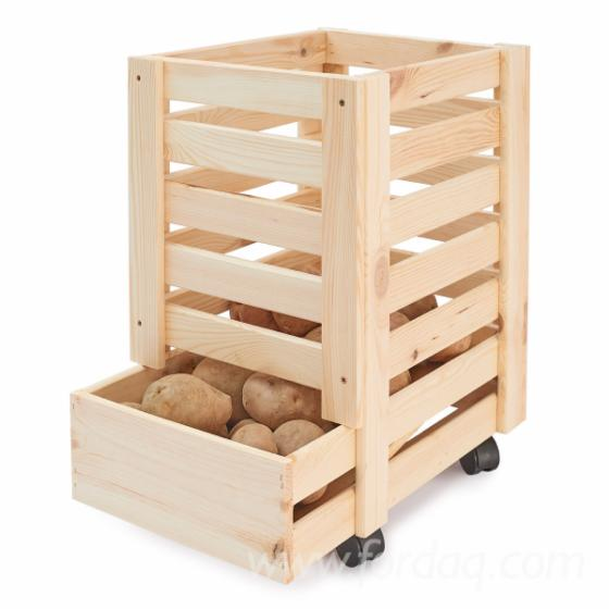 Wooden boxes for potatoes with castors 31x37x50 / 61x42x43 / full truck loads