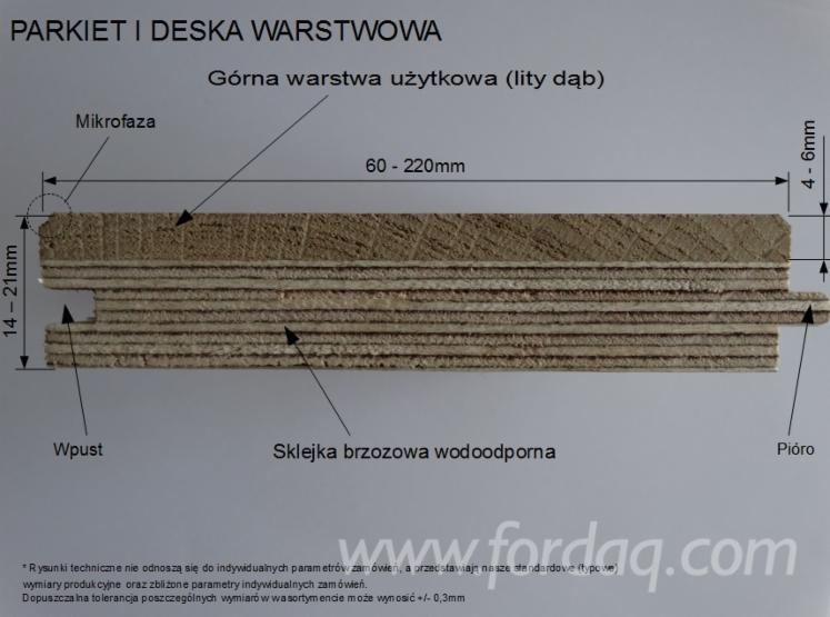 Deska warstwowa parkietowa, podłogowa, dąb, dębowa, olejowana, PRIME TOSCANA, 15x100x500-1400mm