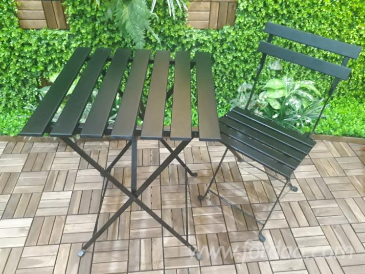 Garden Furniture Steel acacia / steel frame garden furniture set