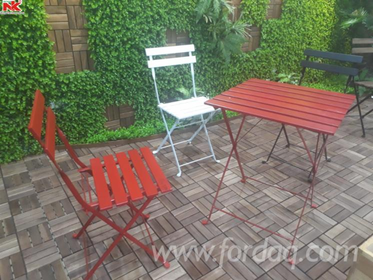 acacia steel foldable garden furniture set