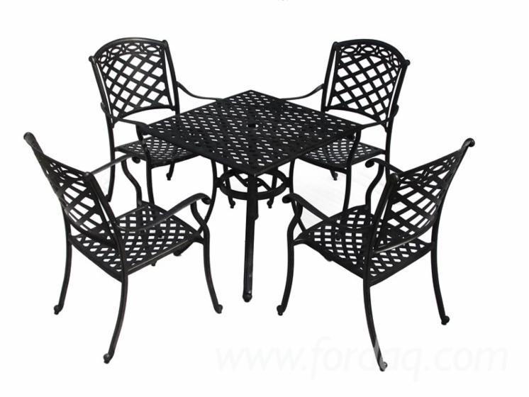 Modern-5pc-Outdoor-Cast-Aluminum-Garden-Dining-Sets-In-Black