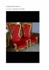 Living Room Furniture - Teak Armchairs, Full Gold Finish