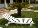 Country Garden Furniture - White Painted Acacia Sun Loungers