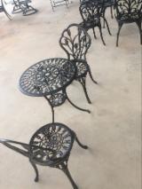 Garden Furniture - Aluminum Garden Bistro Set with Umbrella Hole