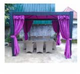 Buy Or Sell Wood Kiosk - Gazebo - Elegant Poly Rattan Gazebo with Curtains