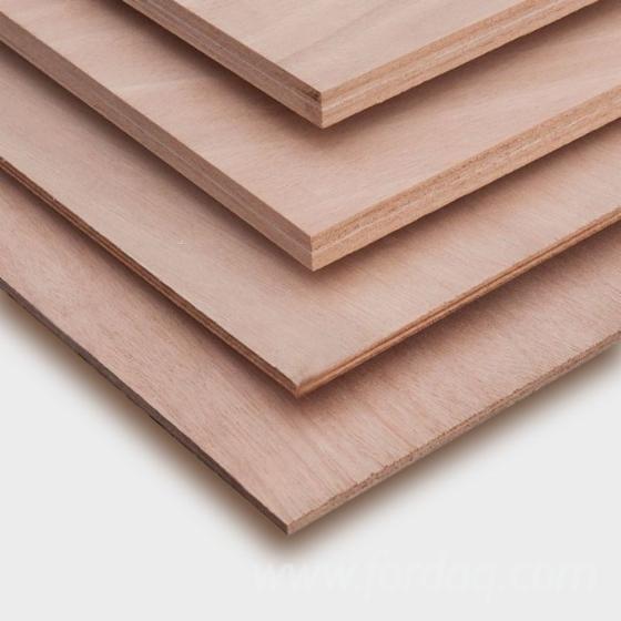 Okoumé Natural Plywood, Poplar Core, 3-40 mm