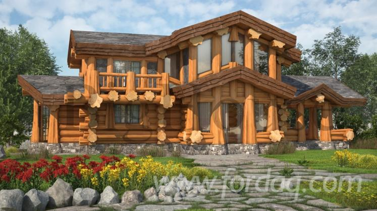 Casa di tronchi squadrati larice siberiano pino siberiano for Casa di 750 m