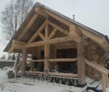 """Holzhäuser - Vorgeschnittene Fachwerkbalken - Dachstuhl Zu Verkaufen - Sibirische Zeder, Sibirische Lärche, Angara-Kiefe, Karelische Kiefer, Keloholz (""""abgestorbenes"""", trockenes Kiefernholz)"""