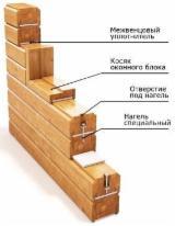 Russland Vorräte - Vierkantblockhaus, Sibirische Kiefer, Sibirische Fichte