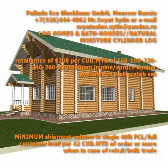 Vend Fuste   Maisons En Rondins Empilés Mélèze De Sibérie, Pin De Sibérie,  Epicéa De Sibérie Résineux Européens Russie