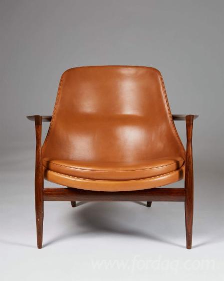 Upholstered Red / White Oak Armchair Set