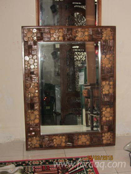 Teak Mirror With Coins Frame