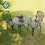 Garden Furniture - Patio Furniture-Patio Furniture Sets-3-Piece Tulip Design Cast Aluminum Bistro Set in Antique Copper