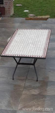Iron Garden Tables with Mosaic Top