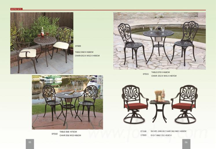 Offer for Outdoor Patio Furniture Tulip Design Cast Aluminum 3 Piece Bistro Set in Antique Copper