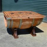 Asia Dining Room Furniture - Tongmu Pine Wooden Table Shaped As Wine Barrel