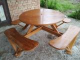 Garden Furniture - Beech Table with Integrated Seating