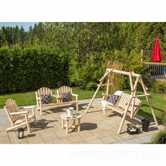 Mobilier extérieur intérieur jardin patio style rondins ...