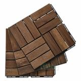 Asia Garden Products - 12 Slat Wood Deck Tile/ Interlocking DIY Deck Tile