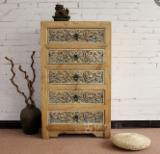 Chests Of Drawers Bedroom Furniture - Pastoral style carved elm wooden chest