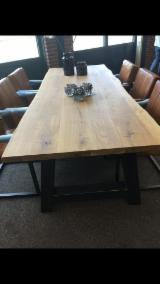 Wood Components - Oak Table with frame, with metal strip inside.