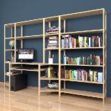 Natural Wood Office Furniture And Home Office Furniture - Model №.7 - Shelving system with a Computer desk 500x2400x2304 mm.
