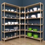 Natural Wood Kitchen Furniture - Model №.8 - Shelving system with a corner 3 sections, 18 shelves.