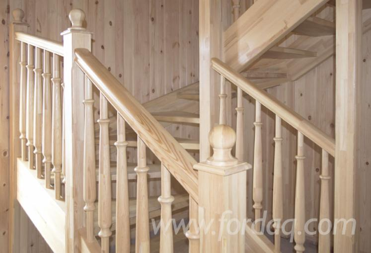 Pine dowel balusters (stairs structural element) BTN-40 40x40x900 mm, Model 1,2,3