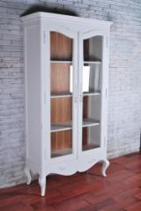 Indonesia Living Room Furniture - White Mahogany Bookcase, French Style