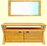 White Ash Bathroom Furniture - Under Basin Cabinet 78*49*78cm, Mirror 2.3*50*70 cm (Ash wood) - Bathroom Furniture