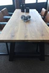 FSC Certified Kitchen Furniture - Oak Table with Frame and Metal Strip Beneath