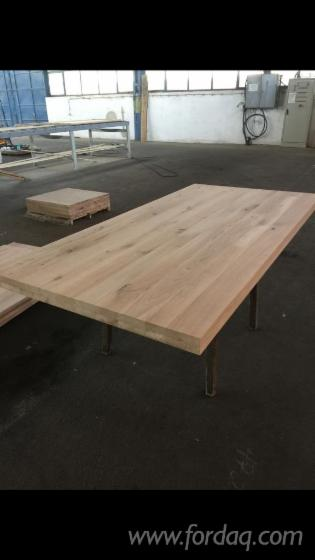 Oak Table with Frame and Metal Strip Beneath