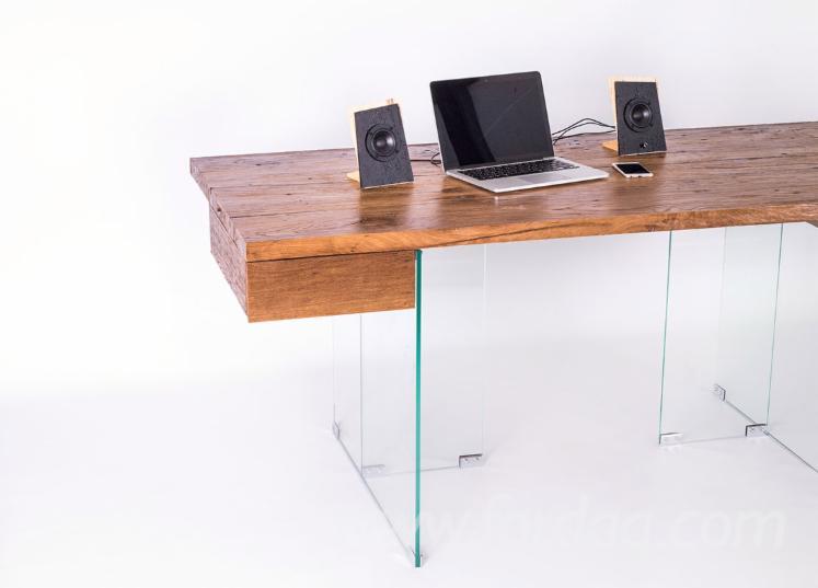 Vintage Oak Desks with Tempered Glass Support