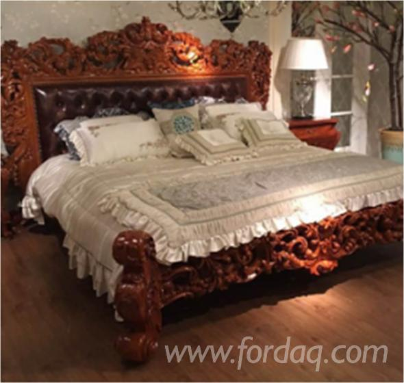 Teak Wood Upholstery Hand Carved Mutiara King Size Bed