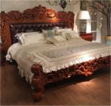 Art & Crafts/Mission Bedroom Furniture - Teak Wood Upholstery Hand Carved Mutiara King Size Bed