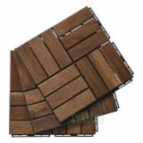 Natural Color Interlocking Deck Tiles 12 Slats