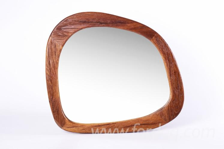 Designed Mirror in Frame, Vintage Oak
