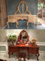 Teak Bedroom Furniture - Teak Wood French Style Hand Carved Dressing Table