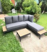 Furniture and Garden Products - Wood Steel Sofa Set With Cushion Including Table, 2 Benches, And Corner Bench.