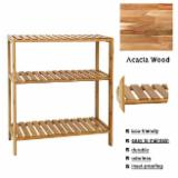 Natural Wood Bathroom Furniture - Adjustable Bathroom Shelf 3-Tier/ Wall Mount Shelf for Living Room Kitchen Balcony