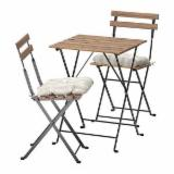 CoffeeHouse Table and Chairs/ 3 pieces Foldable Acacia Wood Bistro Set for Garden Balcony