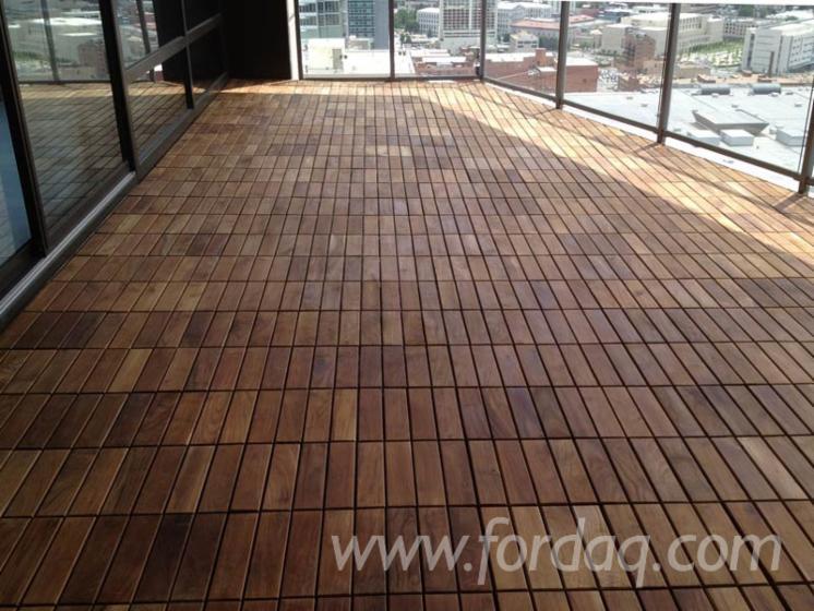 Natural Solid Teak Floor Tile/ Waterproof Teak Wood Deck Tile for Outdoor Balcony Terrace Swimming Pool WalkSide Garden