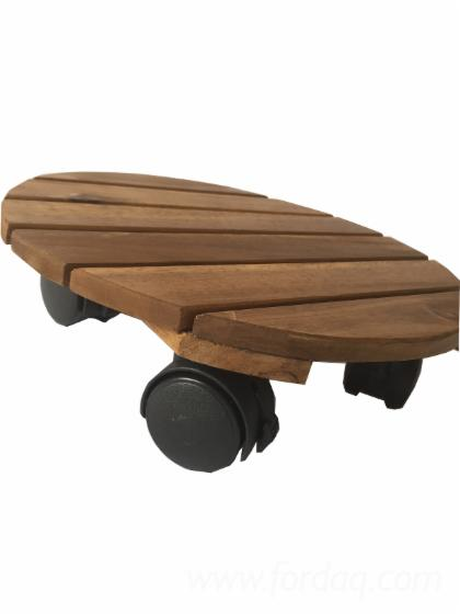 Wooden-Stand-Flower-Pot-Holder-With-Wheels--Acacia-Wood-Round-Flower-Pot