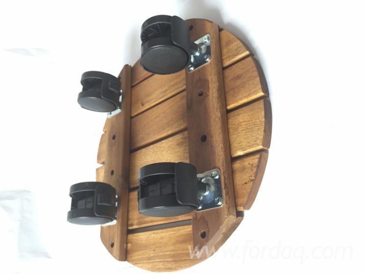 Wooden Stand Flower Pot Holder With Wheels/ Acacia Wood Round Flower Pot Holder