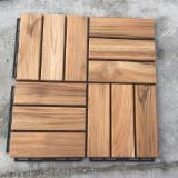 Solid Teak Deck Tiles for Garden, Balcony, Poolside, Landscape